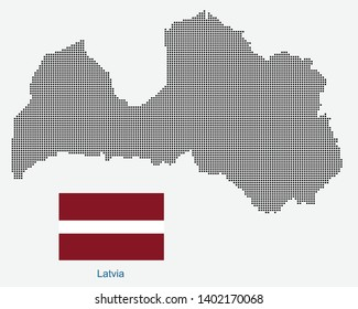 National flag with vector point map of Latvia