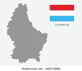 National flag with vector point map of Luxembourg