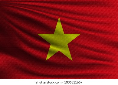 The national flag of Vietnam. The symbol of the state on wavy cotton fabric. Realistic vector illustration.