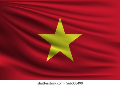 The national flag of Vietnam. The symbol of the state on wavy silk fabric. Realistic vector illustration.