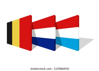 National flags of Benelux in 3d perspective.