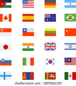 national flags collection set icons