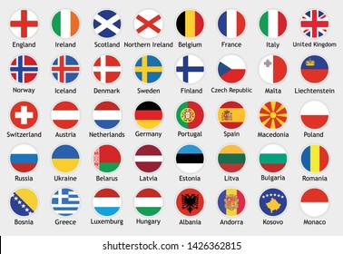 National flags of european countries with captions. Set of vector icons illustration for national events, travel and holidays.