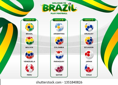 National flags in the form of soccer balls. Group tournament of the American Football Championship in Brazil. CONMEBOL Copa America 2019. Broadcast template. Football Championship 2019.
