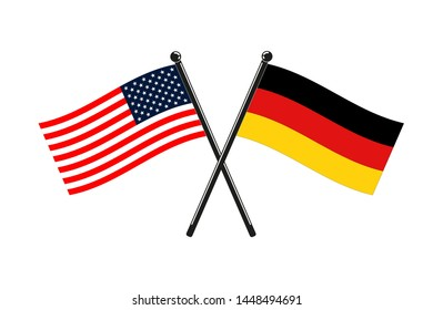 National flags of Germany and Usa crossed on the sticks isolated in the original size and proportions