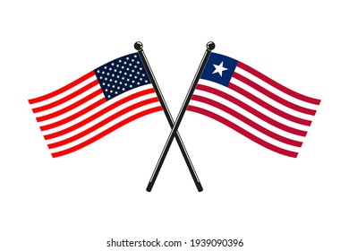 national flags of Liberia and Usa crossed on the sticks in the original colours