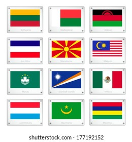 National Flags of Lithuania, Madagascar, Malawi, Los Altos, Macedonia, Malaysia, Macau, Marshall Islands, Mexico, Luxembourg, Mauritania and Mauritius on Metal Texture Plates with Screws.