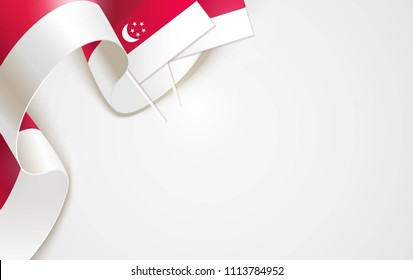 National flags of Singapore isolated on white background. Patriotic Symbolic background. Vector illustration