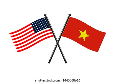 national flags of Socialist Republic of Vietnam and Usa crossed on the sticks in the original colours