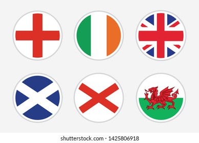 National Flags of United kingdom, vector Set on white background. Flag of England, Ireland, UK, Scotland, Northern Ireland and Wales for travel, holidays and other events.