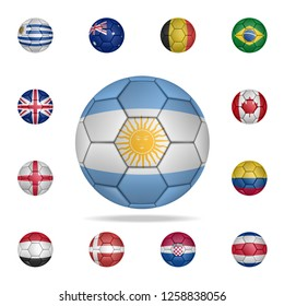 National football ball of Argentina. Detailed set of national soccer balls. Premium graphic design. One of the collection icons for websites, web design, mobile app