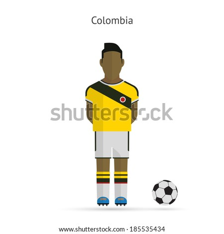 National football player. Colombia soccer team uniform. Vector illustration. af32b195c