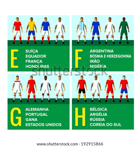 67ddfb0b6 National football teams uniforms vector illustration with the names of the  countries in Portuguese