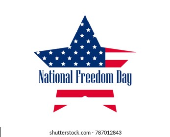National freedom day, 1st of February. Star with flag usa. Celebration banner. Slavery Abolition. Vector illustration