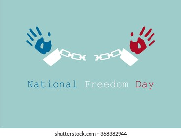 National Freedom Day. Freedom for all Americans. Peace background. Peace illustration. Background with prisoner. Background with prison bars. Illustration of hands in handcuffs