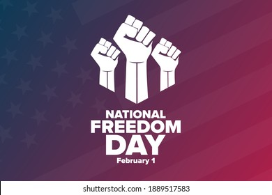 National Freedom Day. February 1. Holiday concept. Template for background, banner, card, poster with text inscription. Vector EPS10 illustration