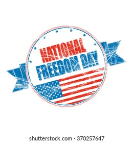 National Freedom Day grunge rubber stamp