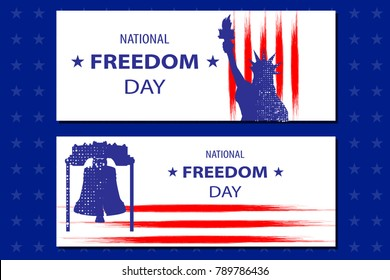 National Freedom Day Illustration with the Statue of Libertyll and the Liberty bell. Poster or banners template - February 1st. USA flag lines as background.