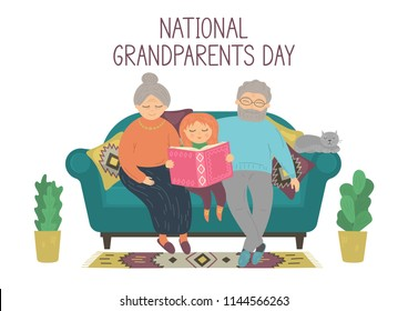 National Grandparents Day. Happy grandparents reading book with granddaughter. Heartwarming grand-parenting concept. Original vector illustration.