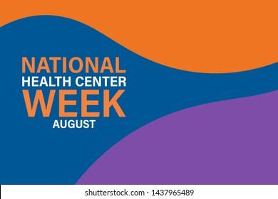 National Health Center Week in August. Poster, card, banner, background design. Vector illustration eps 10