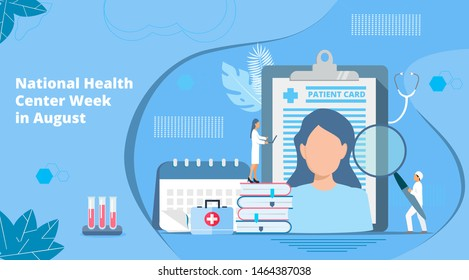 National Health Center Week in August. Healthcare, clinic center concept vector. Tiny doctots treat,  diagnose, carry out prevention, webinar. It is for landing page, UI, flyer, banner, website