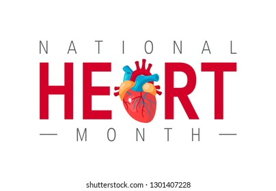 National heart month concept. Horizontal design with typography and human heart in flat style, vector