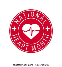 National heart month concept. Round design in flat style, vector