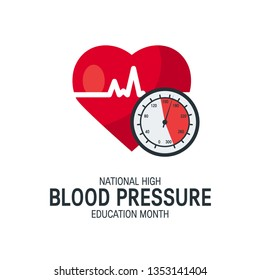 National high blood pressure education month concept. Simple design with heart and tonometer in flat style, vector