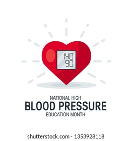 National high blood pressure education month concept. Simple design with heart as tonometer in flat style, vector