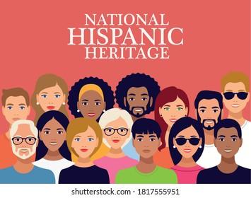 national hispanic heritage celebration lettering with group of people vector illustration design