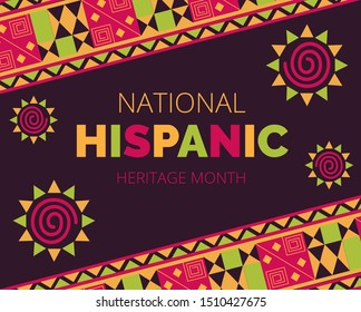 National Hispanic Heritage Month celebrated from 15 September to 15 October in United States. Patriotic, traditional, Latino American ornament vector for greeting card, banner, poster and background.