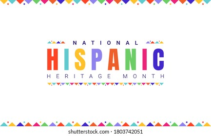 National Hispanic Heritage Month horizontal banner template with colorful text and flags on white background. Influence of Latin American heritage on a world culture