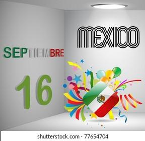 National Holiday 3D Calendar Mexico Vector