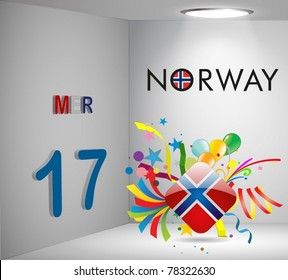 National Holiday 3D Calendar Norway Vector