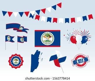 National holiday. Independence Day of Belize set of vector design elements, Made in Belize. Map, flags, ribbons, turntables, sockets. Vector symbolism, set for your infographics. September 21st