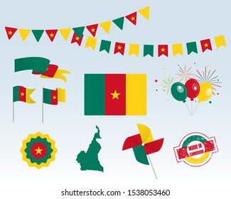 National holiday. Independence Day of Cameroon, set of vector design elements. Made in Cameroon. Map, flags, ribbons, turntables, sockets. Vector. 1st of January. Symbolism