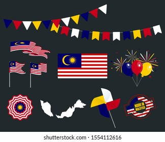 National holiday. Independence Day of Malaysia set of vector design elements, Made in Malaysia. Map, flags, ribbons, turntables, sockets. Vector symbolism, set for your infographics. August 31