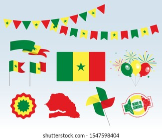 National holiday. Independence Day of Senegal, set of vector design elements, Made in Senegal. Map, flags, ribbons, turntables, sockets. Vector symbolism, set for your infographics. August 20