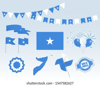 National holiday. Independence Day of Somalia, set of vector design elements, Made in Somalia. Map, flags, ribbons, turntables, sockets. Vector symbolism, set for your infographics. July 1