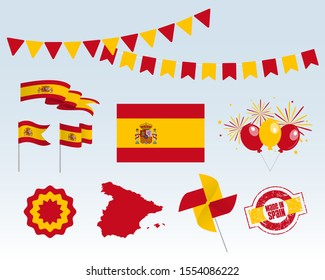 National holiday. Independence Day of Spain set of vector design elements, Made in Spain. Map, flags, ribbons, turntables, sockets. Vector symbolism, set for your infographics. October 12th