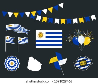 National holiday. Uruguay Independence Day set of vector design elements, Made in Uruguay. Map, flags, ribbons, turntables, sockets. Vector symbolism, set for your info graphic. 25-th of August