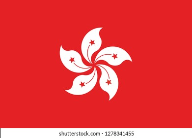 National Hong kong flag, official colors and proportion correctly. National Hong kong flag. Vector illustration. EPS10. Hong kong flag vector icon, simple, flat design for web or mobile app.