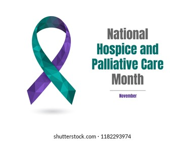 National Hospice and Palliative Care Month (November) concept with jade and purple awareness ribbon isolated on white background.
