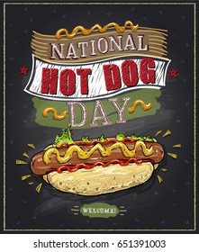 National hot dog day chalkboard poster, vector design