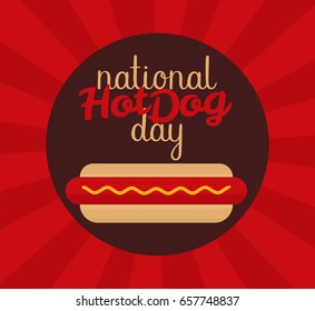 National Hot Dog Day Vector Illustration Modern Calligraphy Inscription Template For Your Design