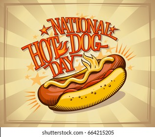 National hot dog day vector design, vintage style
