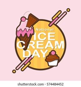 National ice cream day masthead/ Desserts vector illustrations/ Waffle, ice cream and sundae icons for menu design