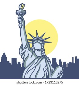National Icons Statue of Liberty in United States, Line Art Vector Style With Town Silhouette Bacground