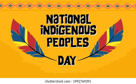 national indigenous day with colorful feathers and yellow background