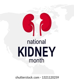 National kidney month concept. Minimalistic design for posters, web banners, infographics etc. in flat style, vector